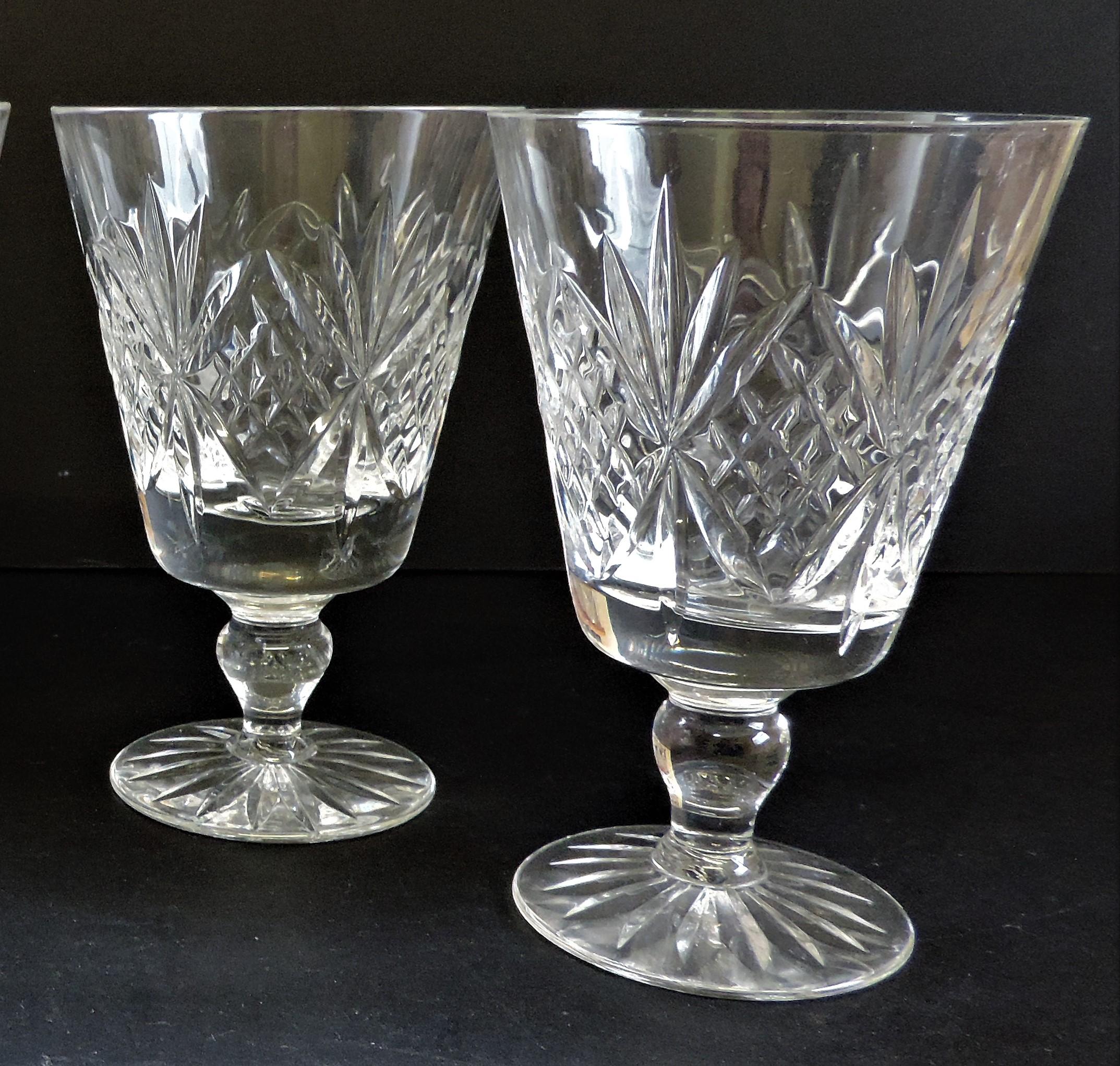 Set of 4 Vintage Crystal Wine Goblets 12cm tall - Image 3 of 4