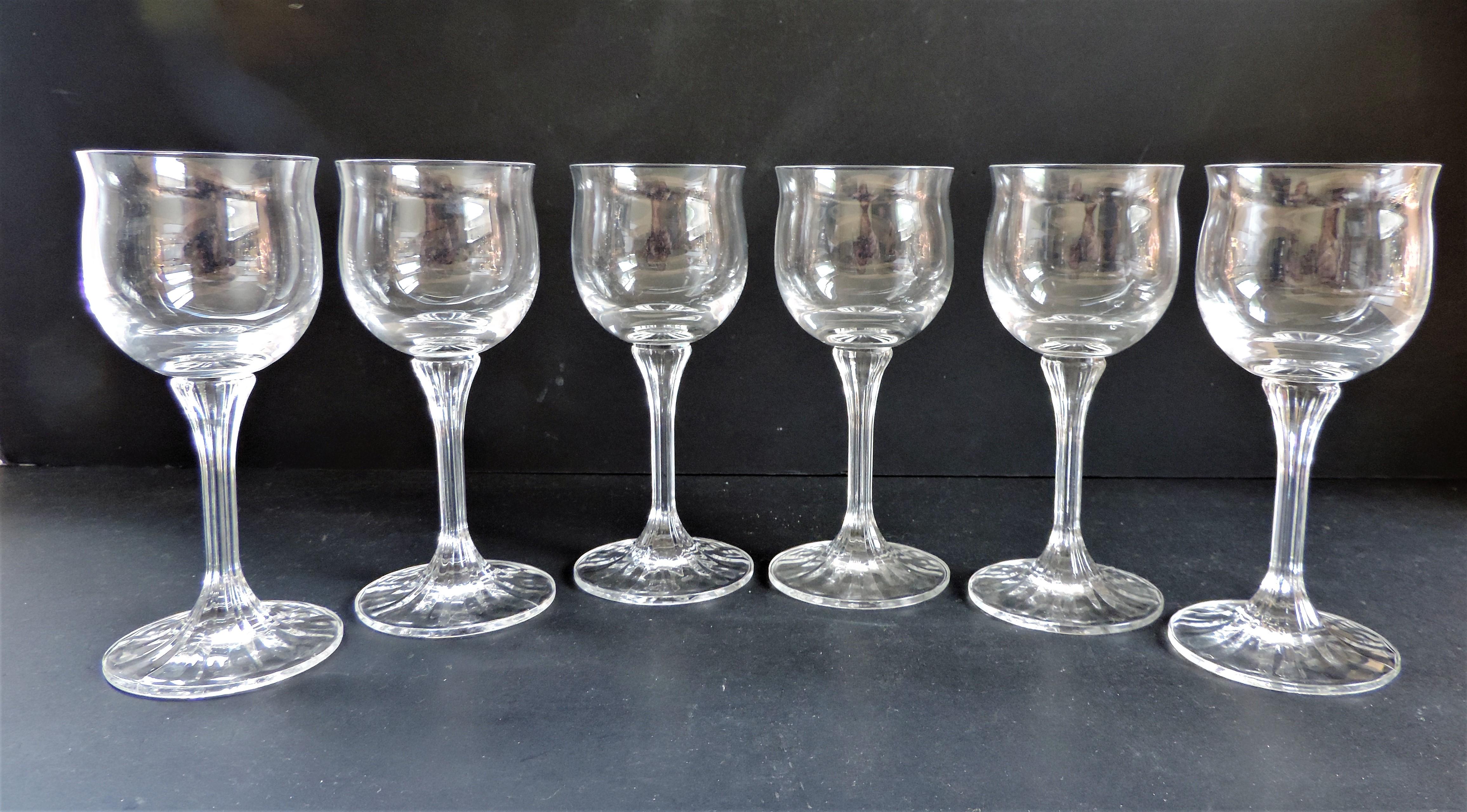 Set 6 Crystal Wine Glasses - Image 3 of 4