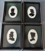 Set 4 Vintage Framed Silhouettes Signed by Artist FR