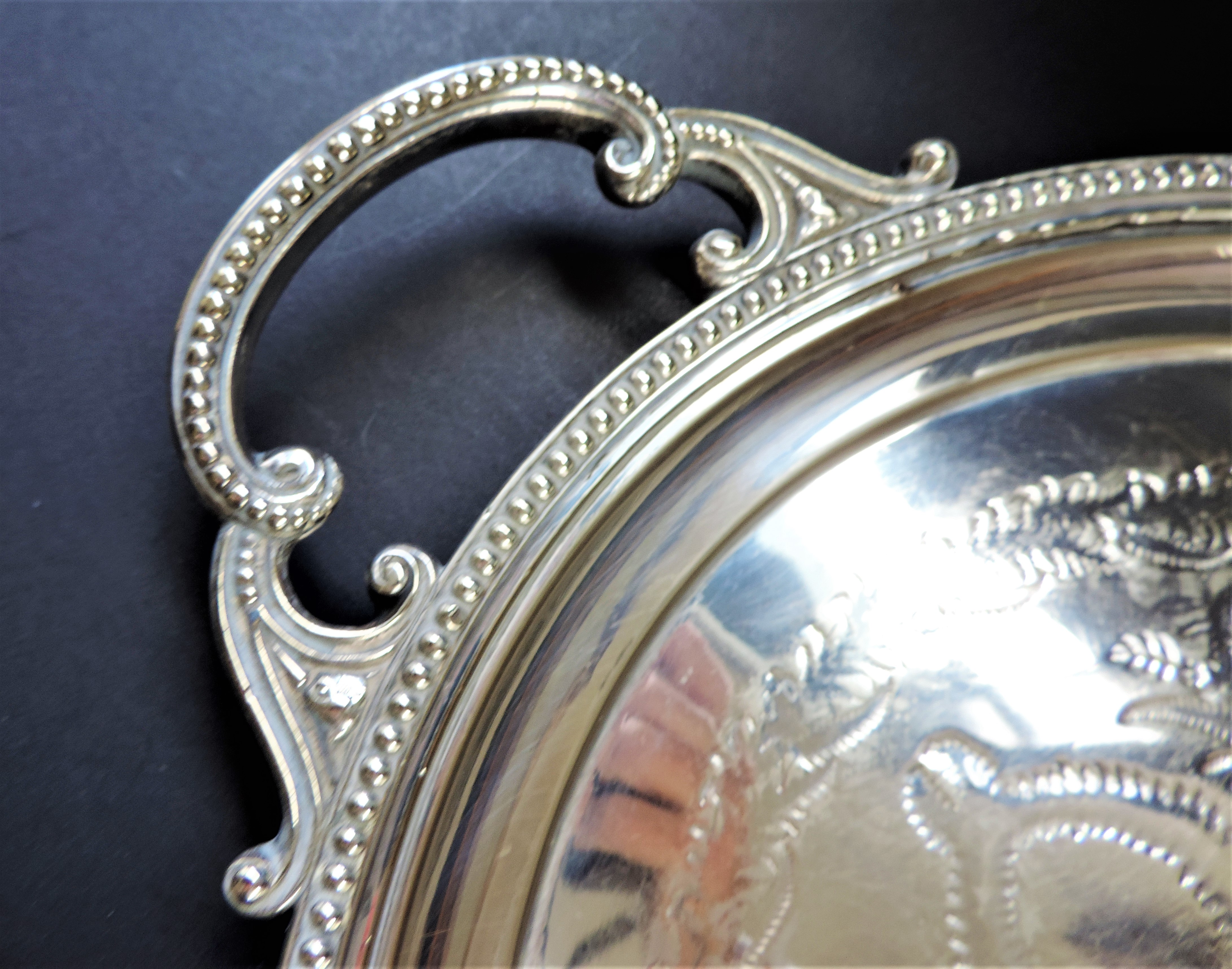 Large Antique Silver Plated Serving Tray 63cm Long - Image 3 of 3