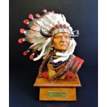 Limited Edition Franklin Mint Porcelain Sculpture Chief Sitting Bull