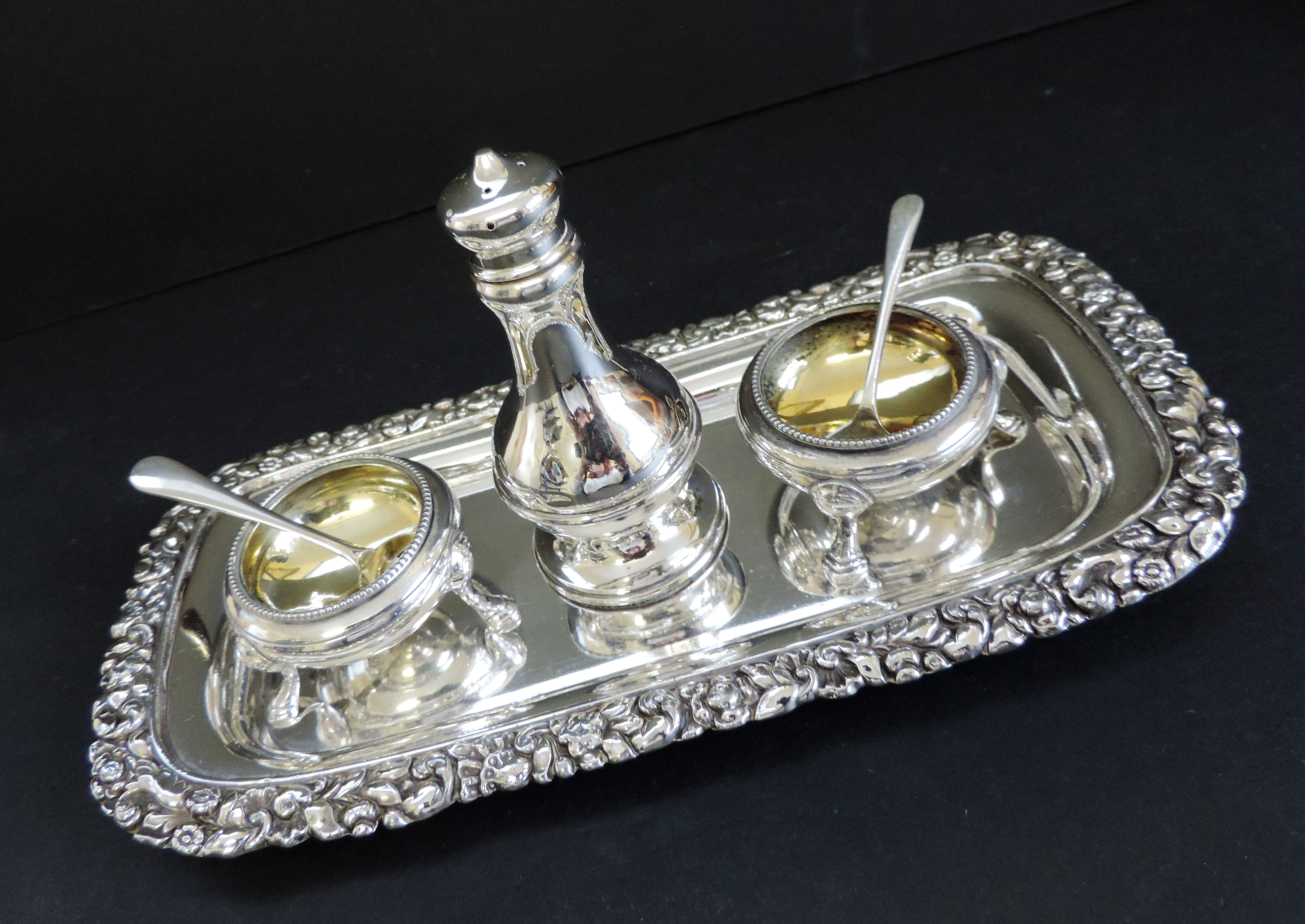 Antique Silver Plated 6 Piece Condiment Set - Image 5 of 5