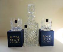 Royal Scot Crystal Whisky/Spirit Decanter Drinks Set