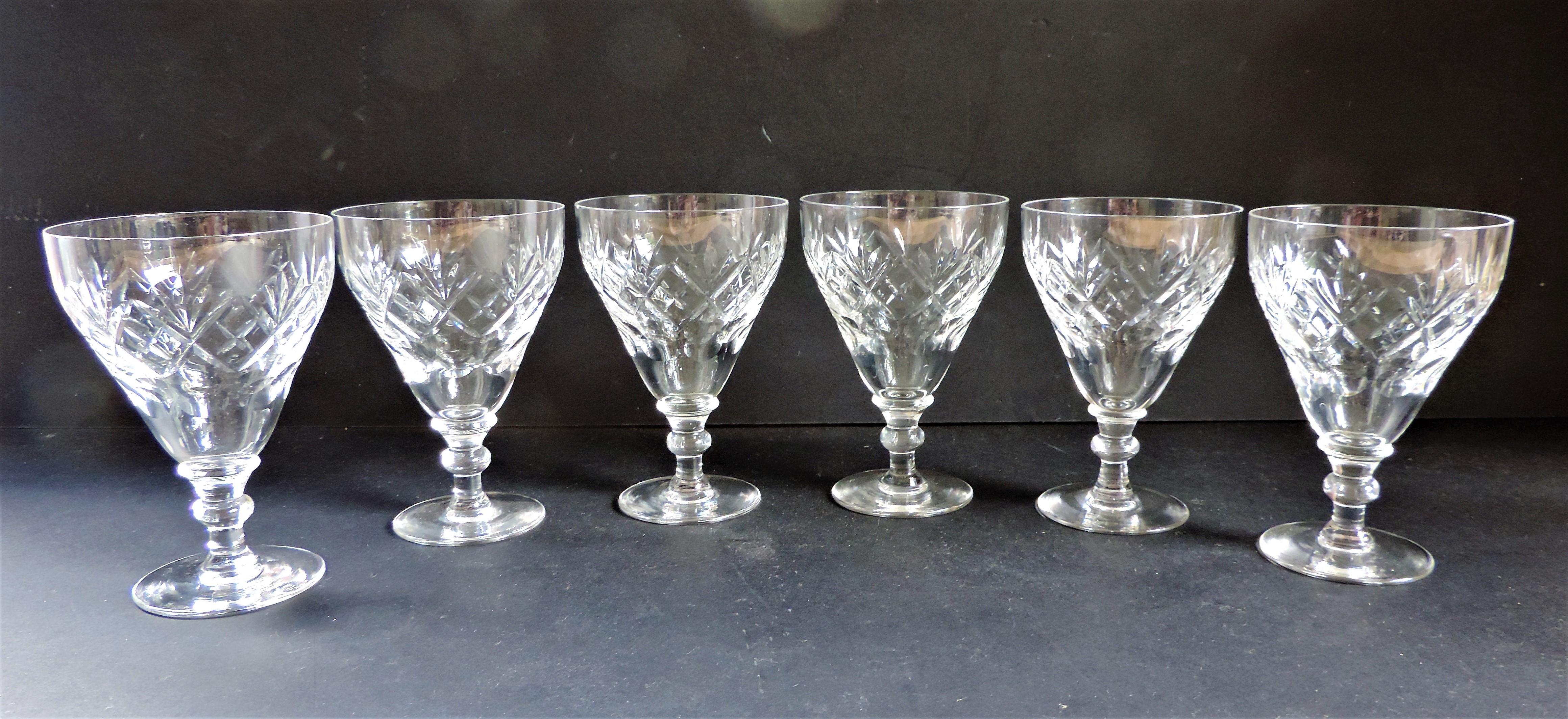 Vintage Crystal Wine Glasses Matching Set of 6 - Image 2 of 3