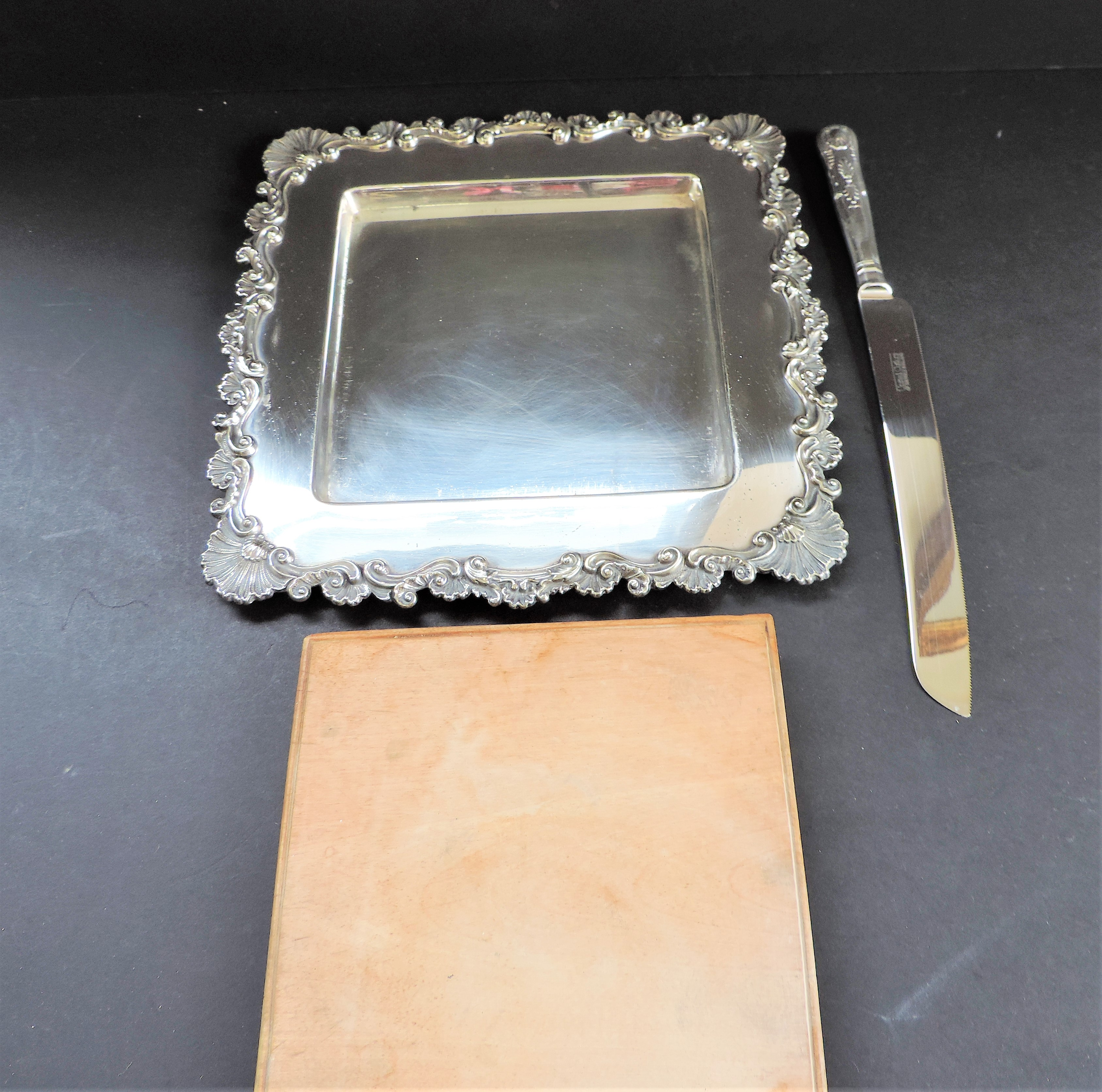 Antique Victorian Silver Plated Bread/Cheese Board Serving Set - Image 3 of 6