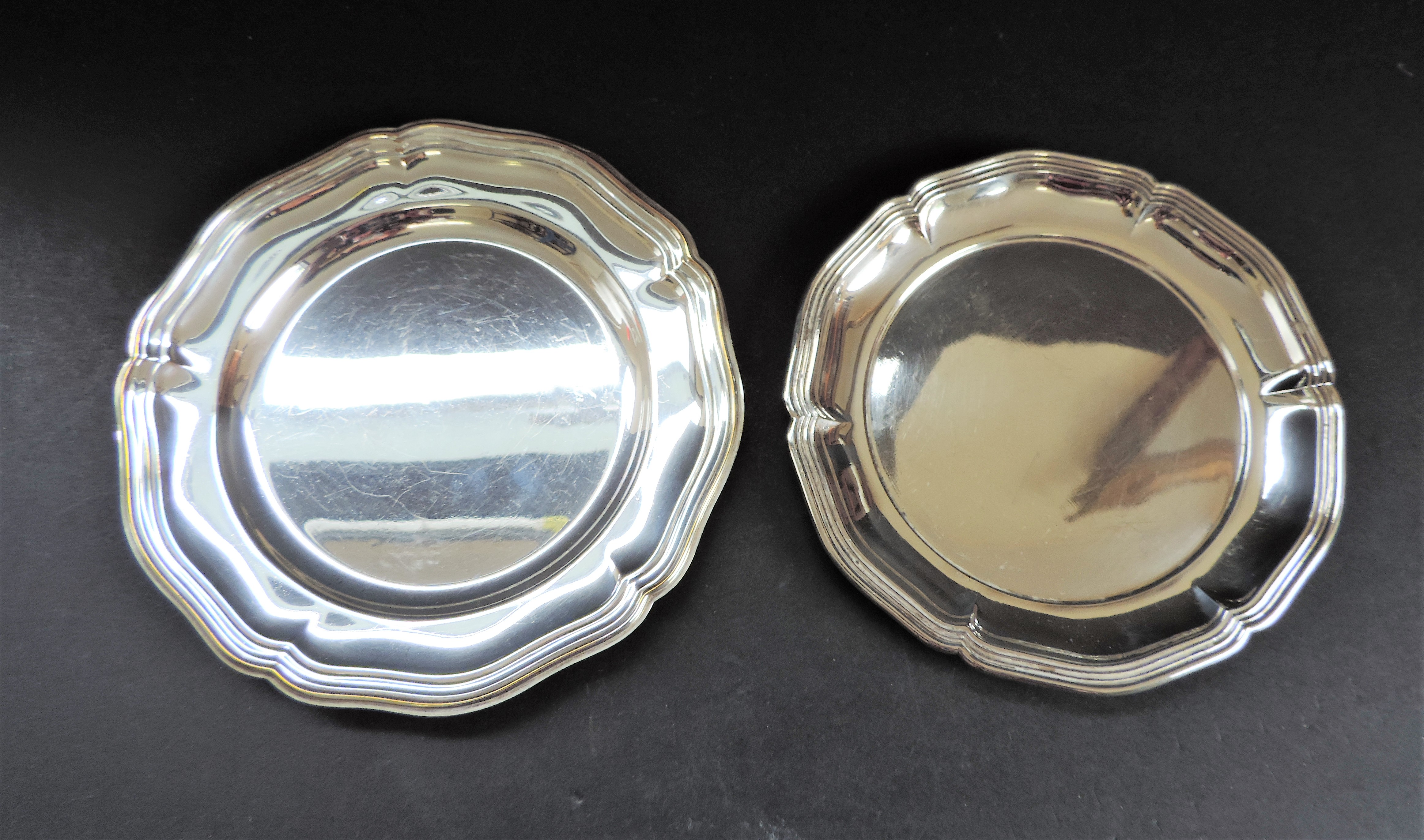 Pair of Antique Silver Plated Salvers