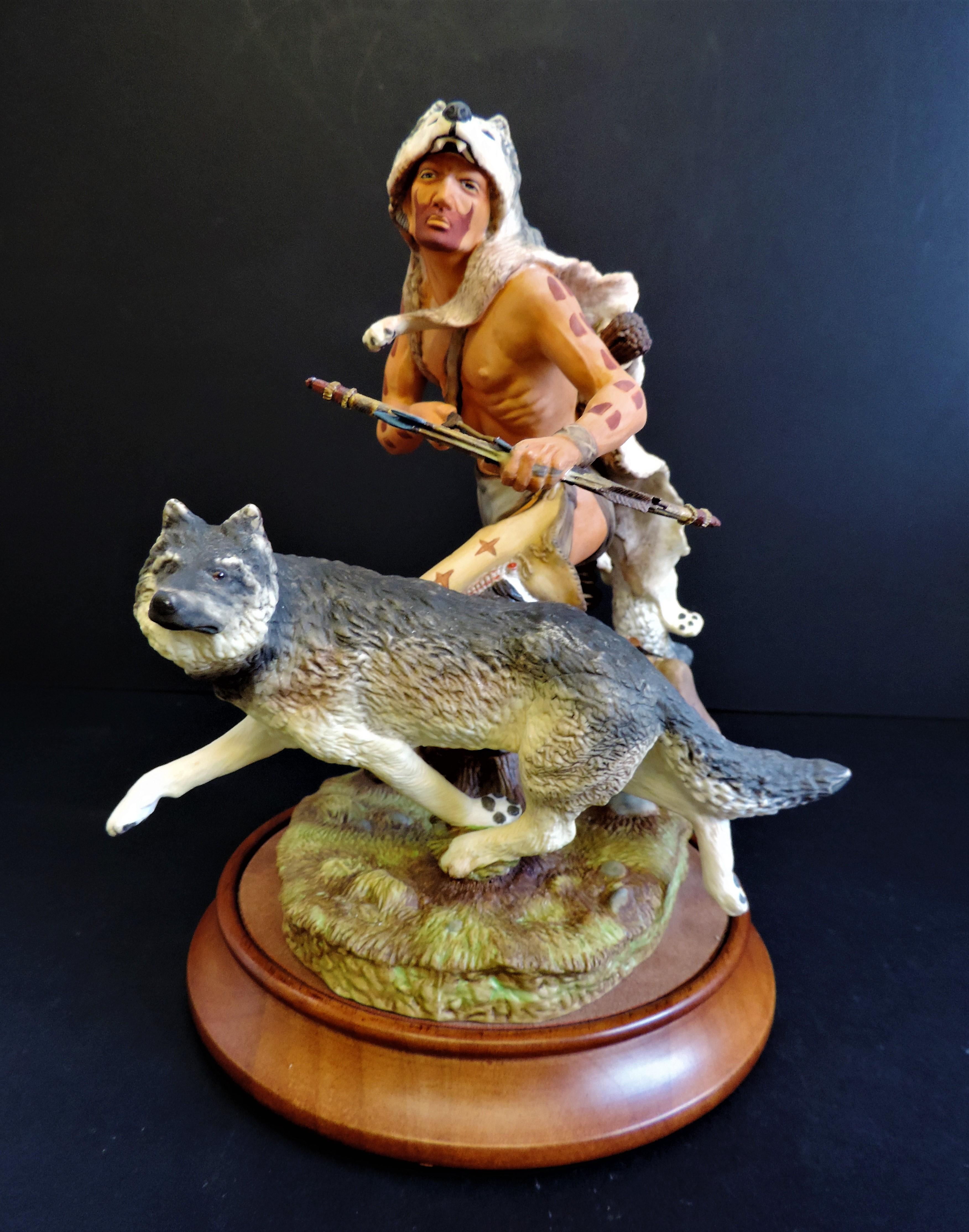 Franklin Mint 'Wolf Runner' Porcelain Figurine Sculpture R.J. Murphy