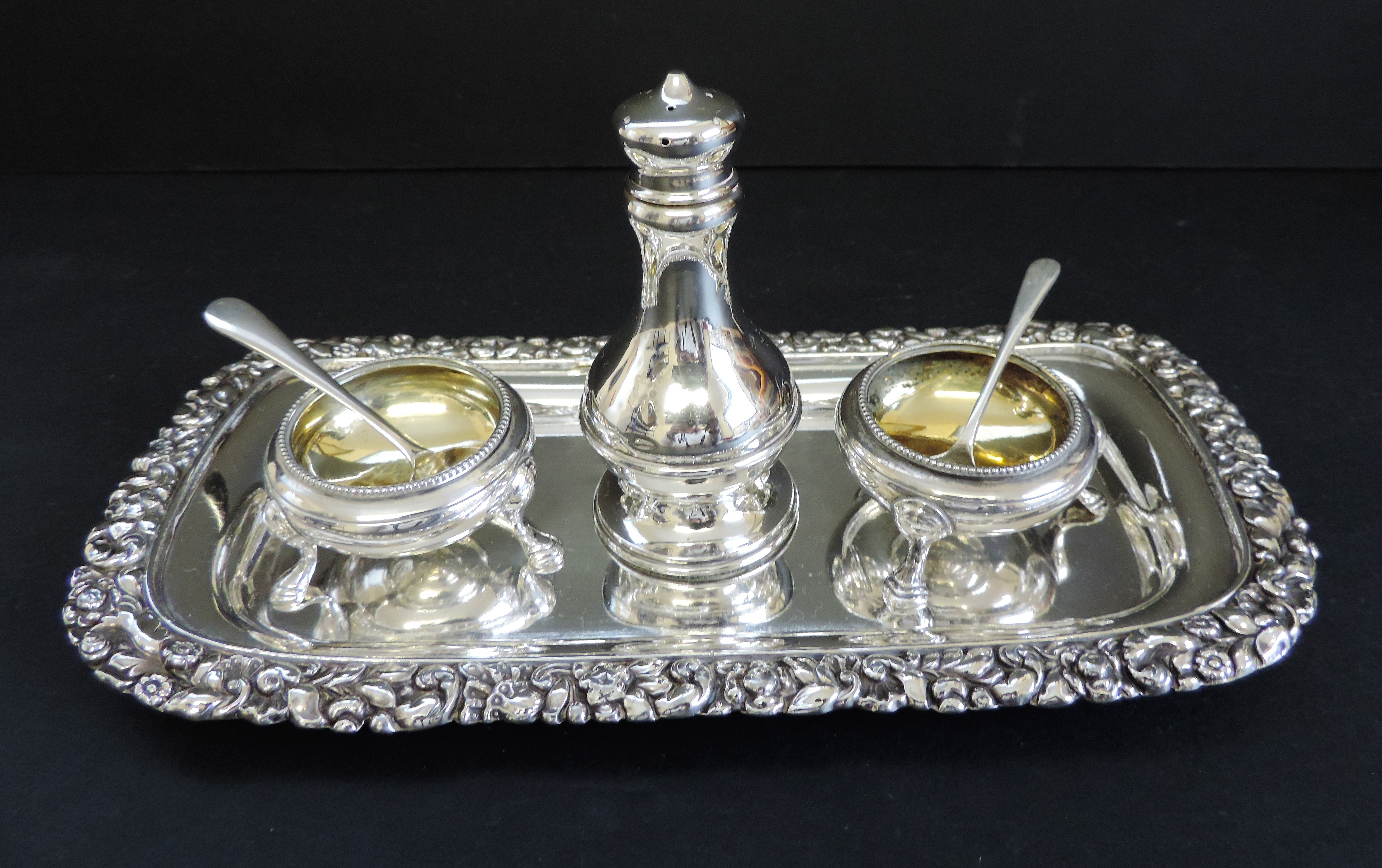 Antique Silver Plated 6 Piece Condiment Set - Image 4 of 5