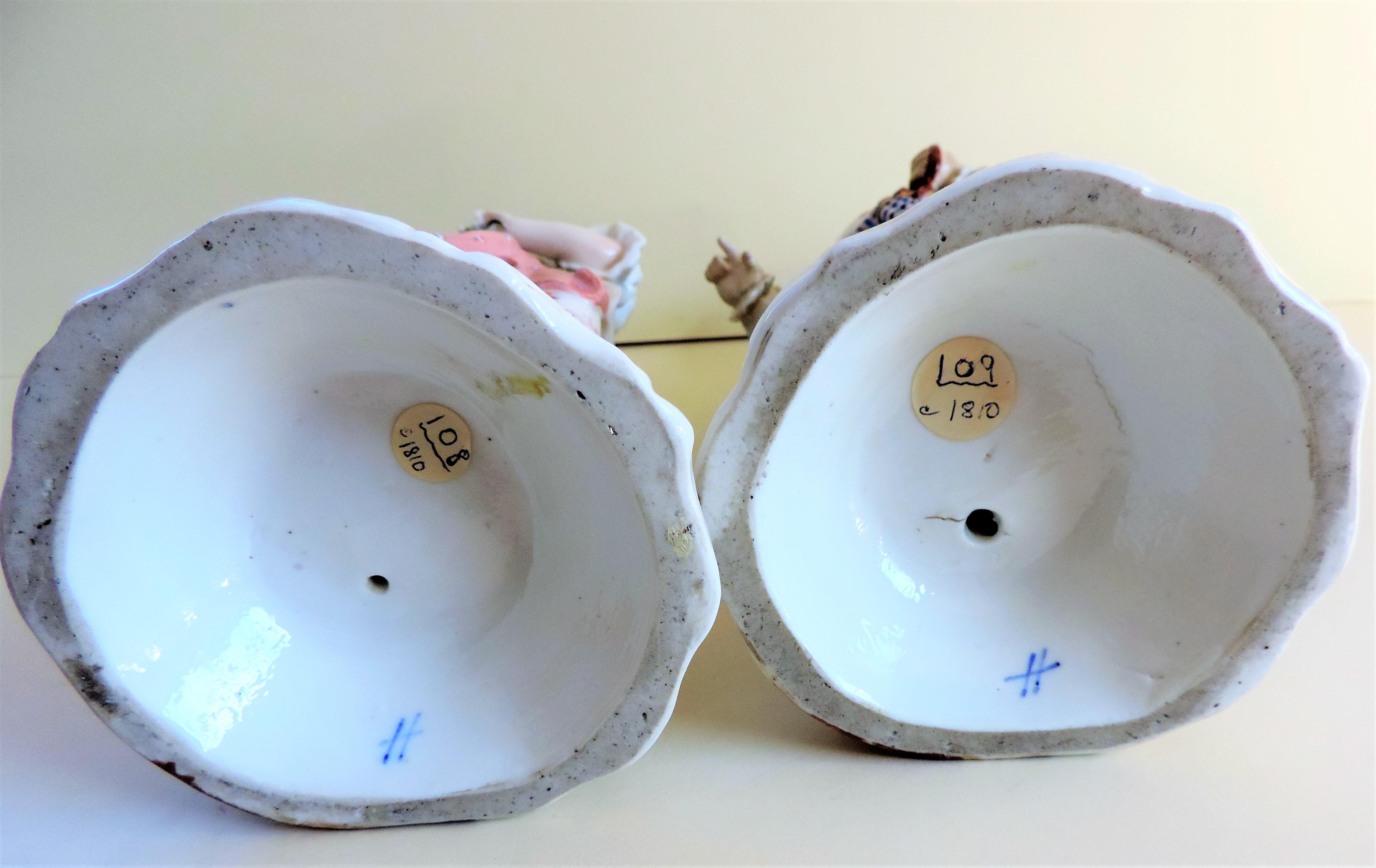 Pair Antique Sitzendorf Porcelain Candlesticks circa 1810 - Image 6 of 10