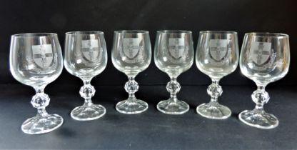 Vintage Crystal Glasses Engraved Coat of Arms Guild of Freemen