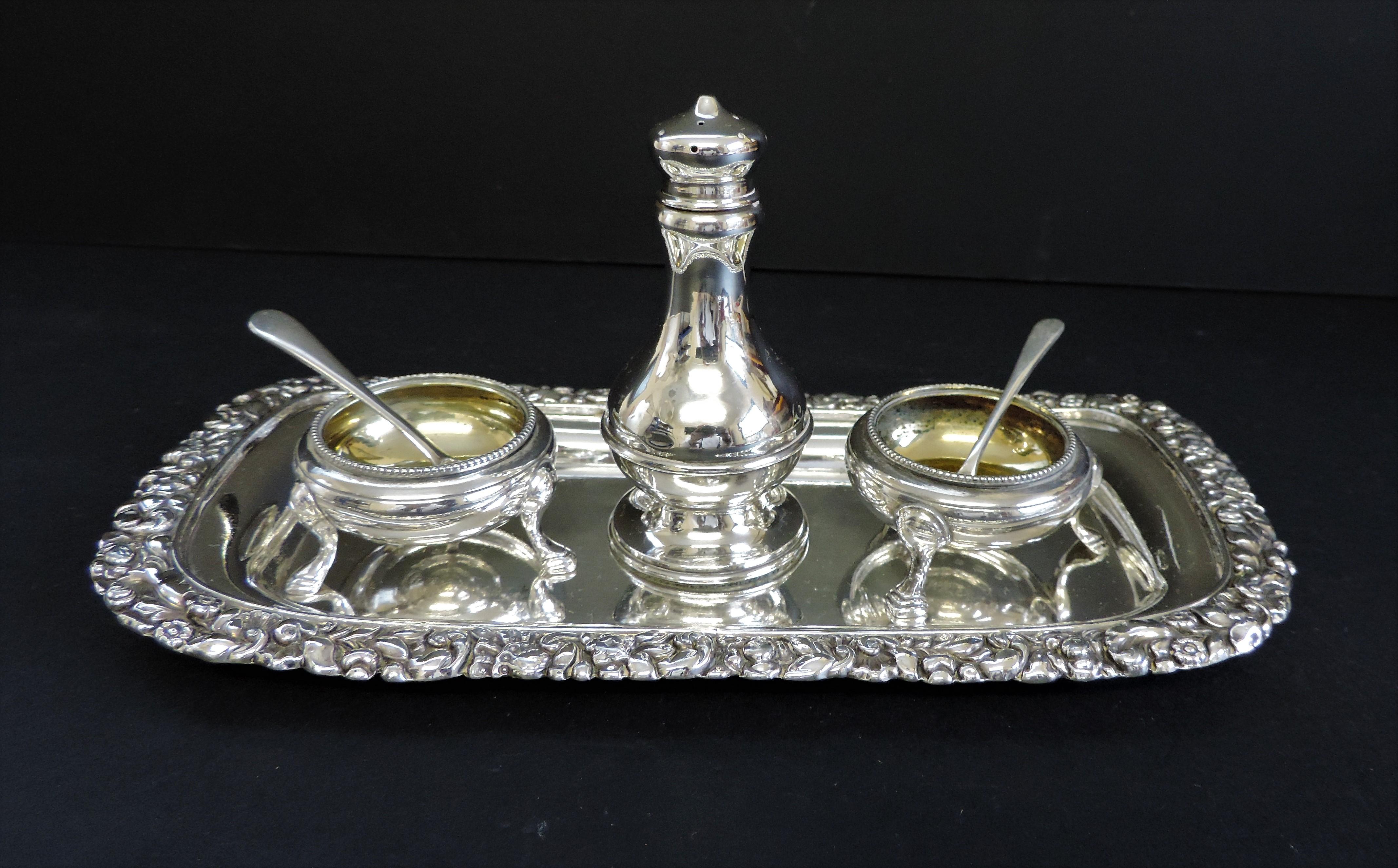 Antique Silver Plated 6 Piece Condiment Set