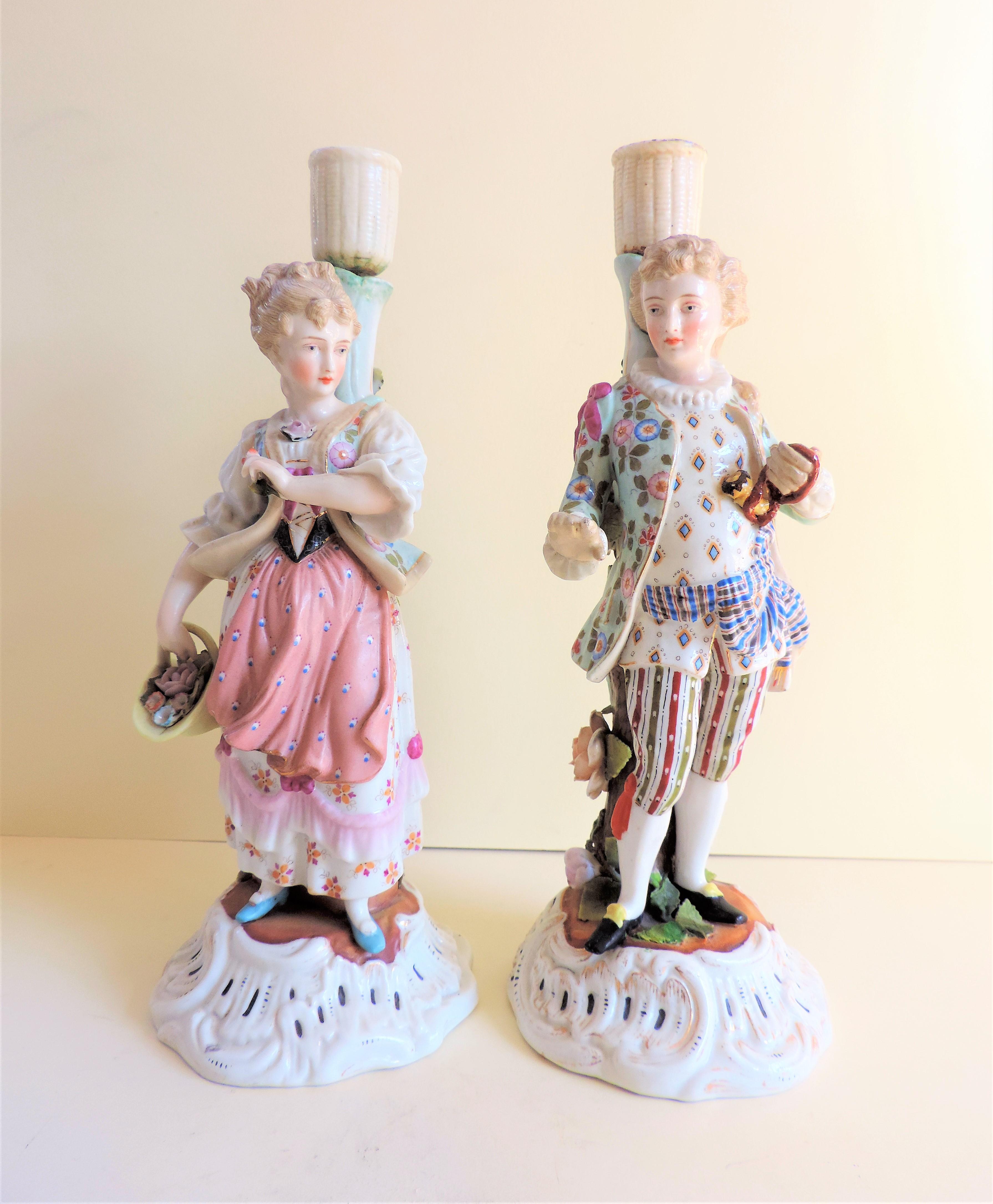 Pair Antique Sitzendorf Porcelain Candlesticks circa 1810 - Image 2 of 10