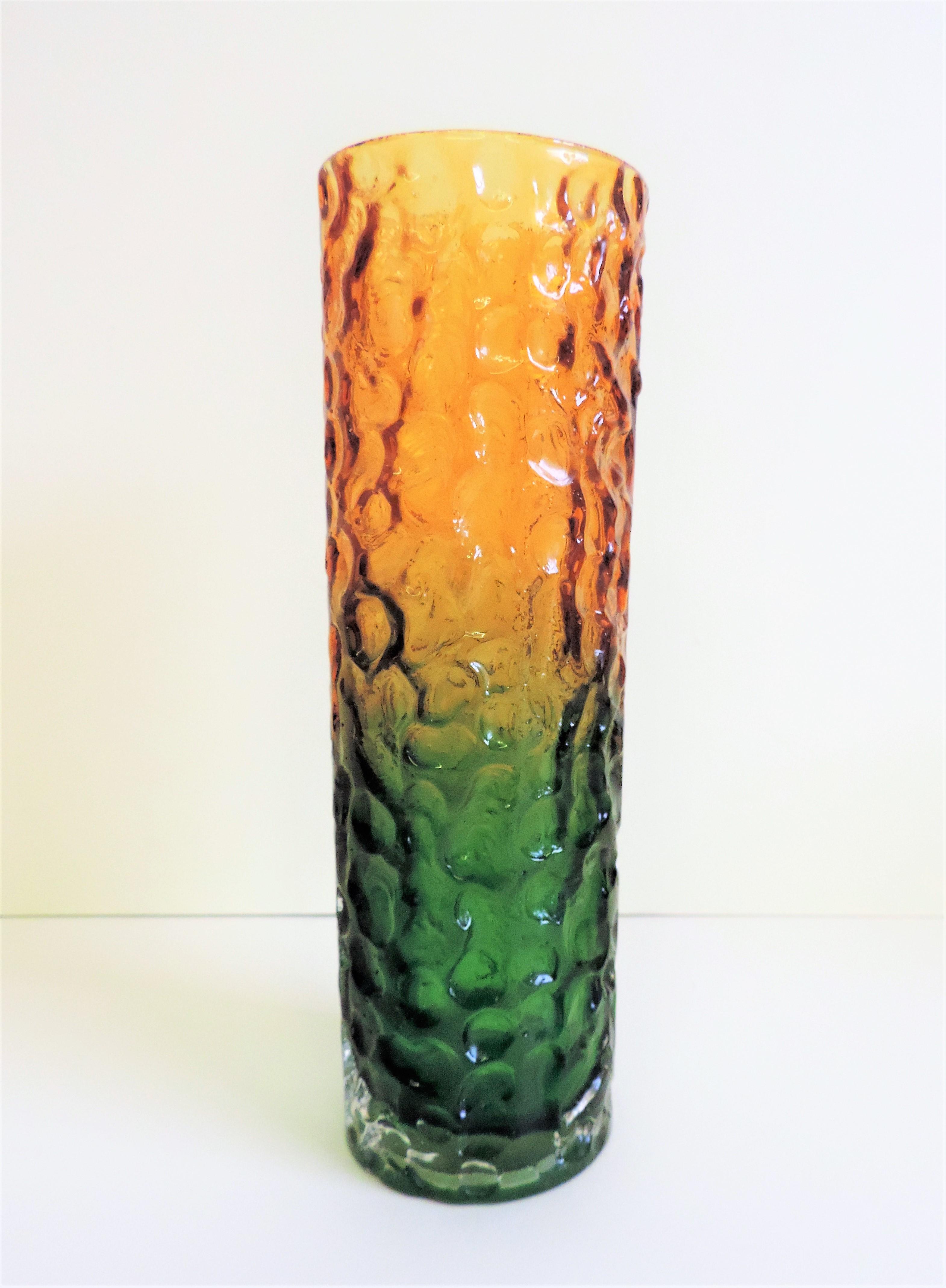 Green & Amber Whitefriars Style Bark Vase 20cm tall