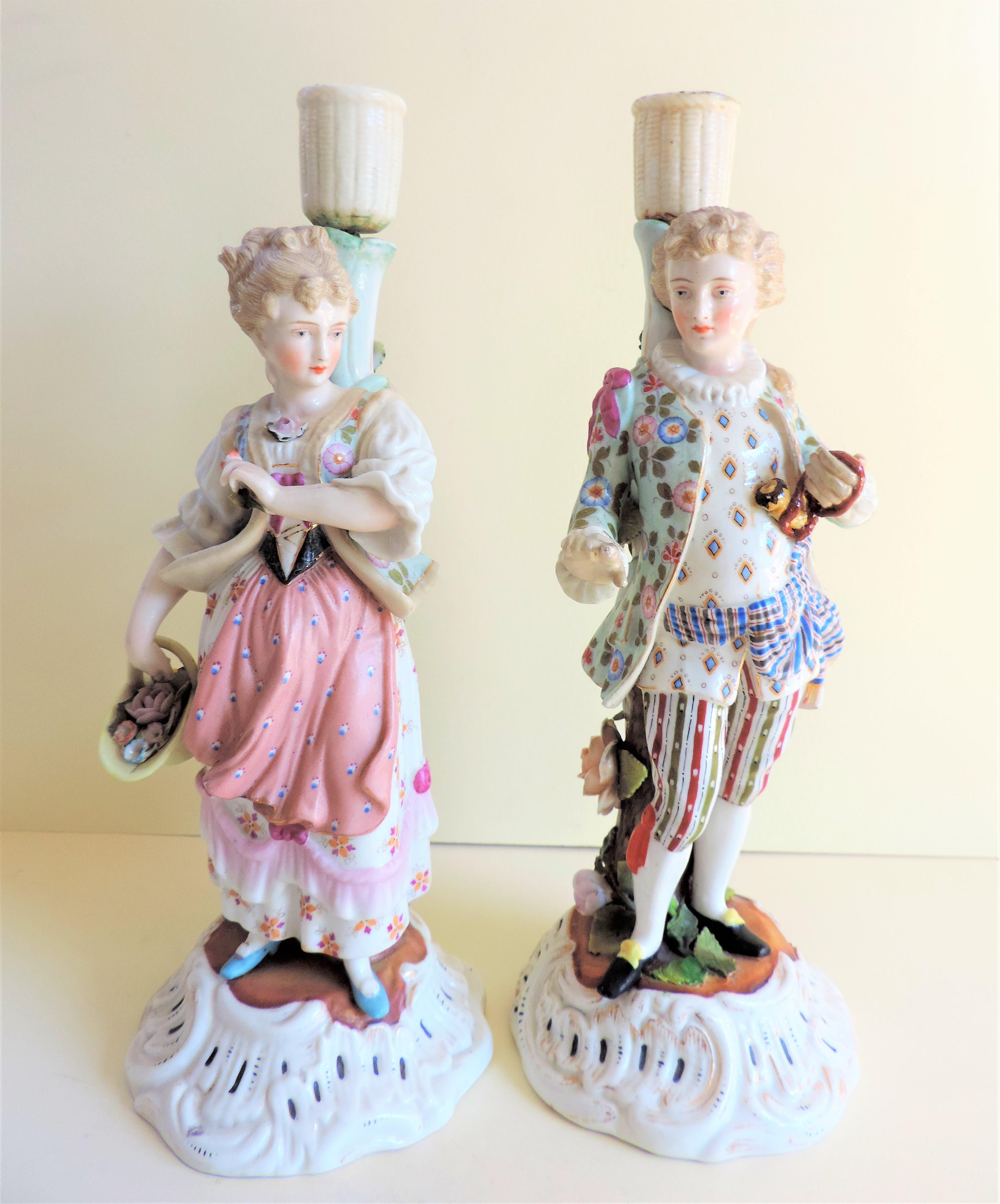 Pair Antique Sitzendorf Porcelain Candlesticks circa 1810