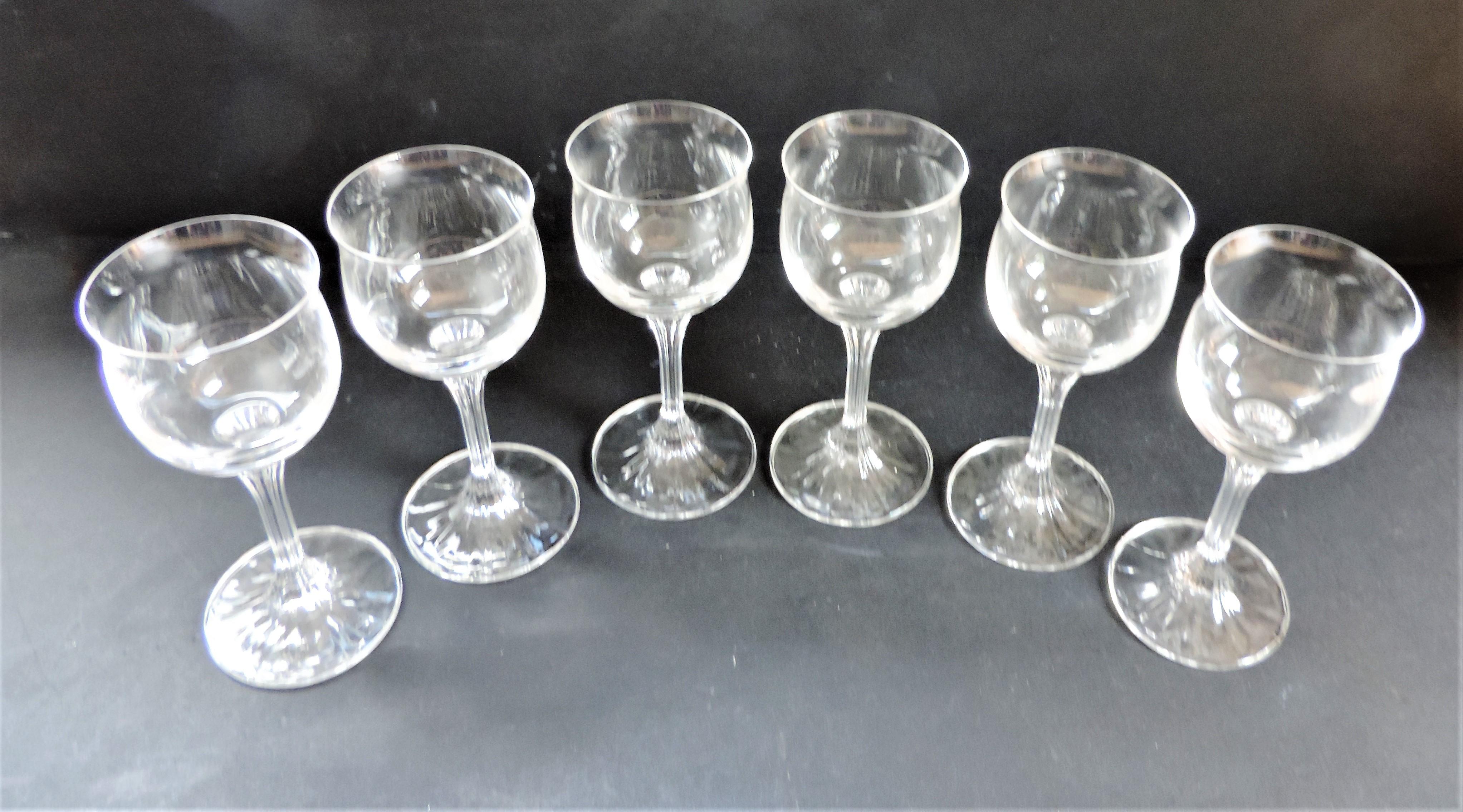 Set 6 Crystal Wine Glasses - Image 2 of 4