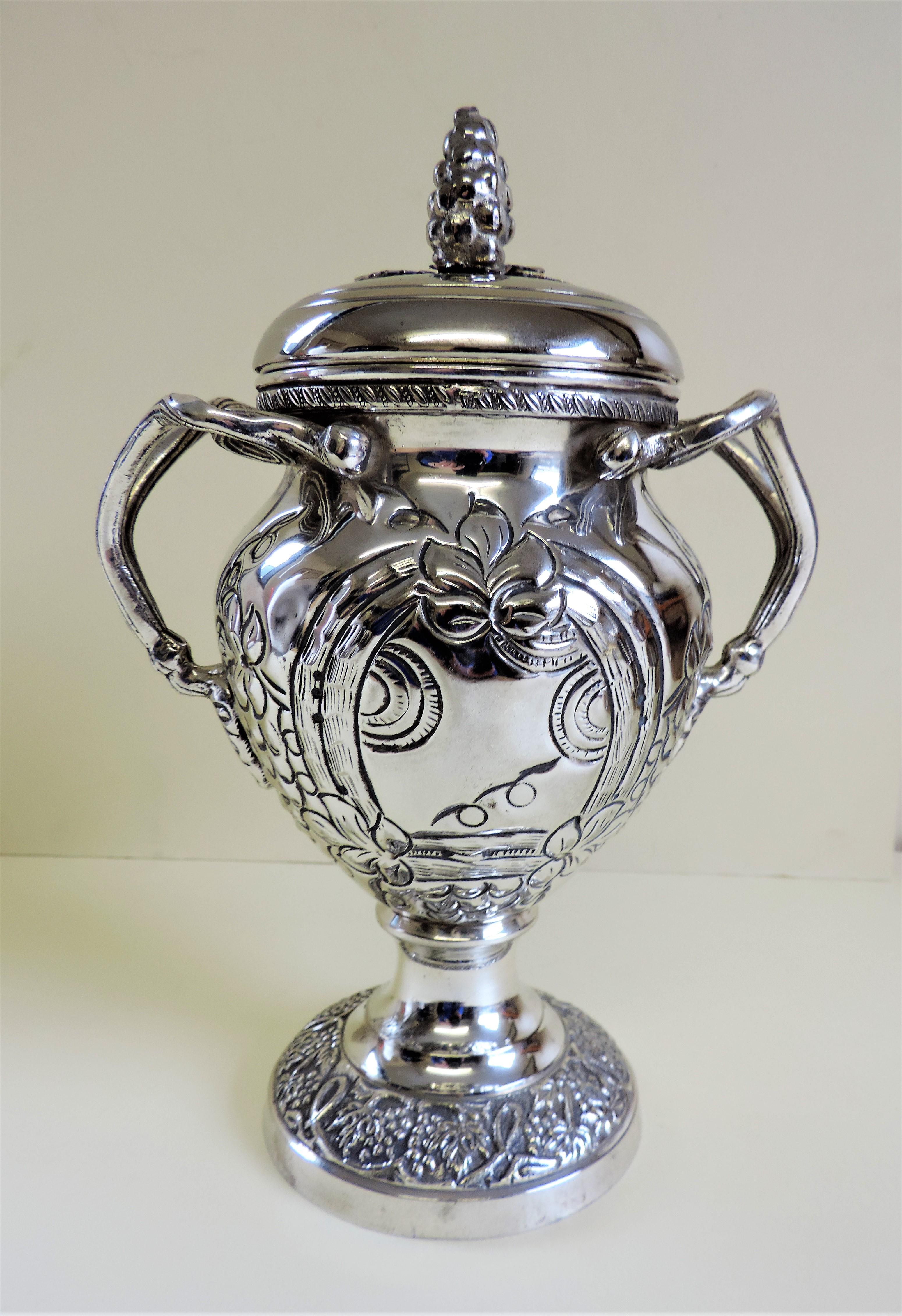 Antique Silver Plate Lidded Urn