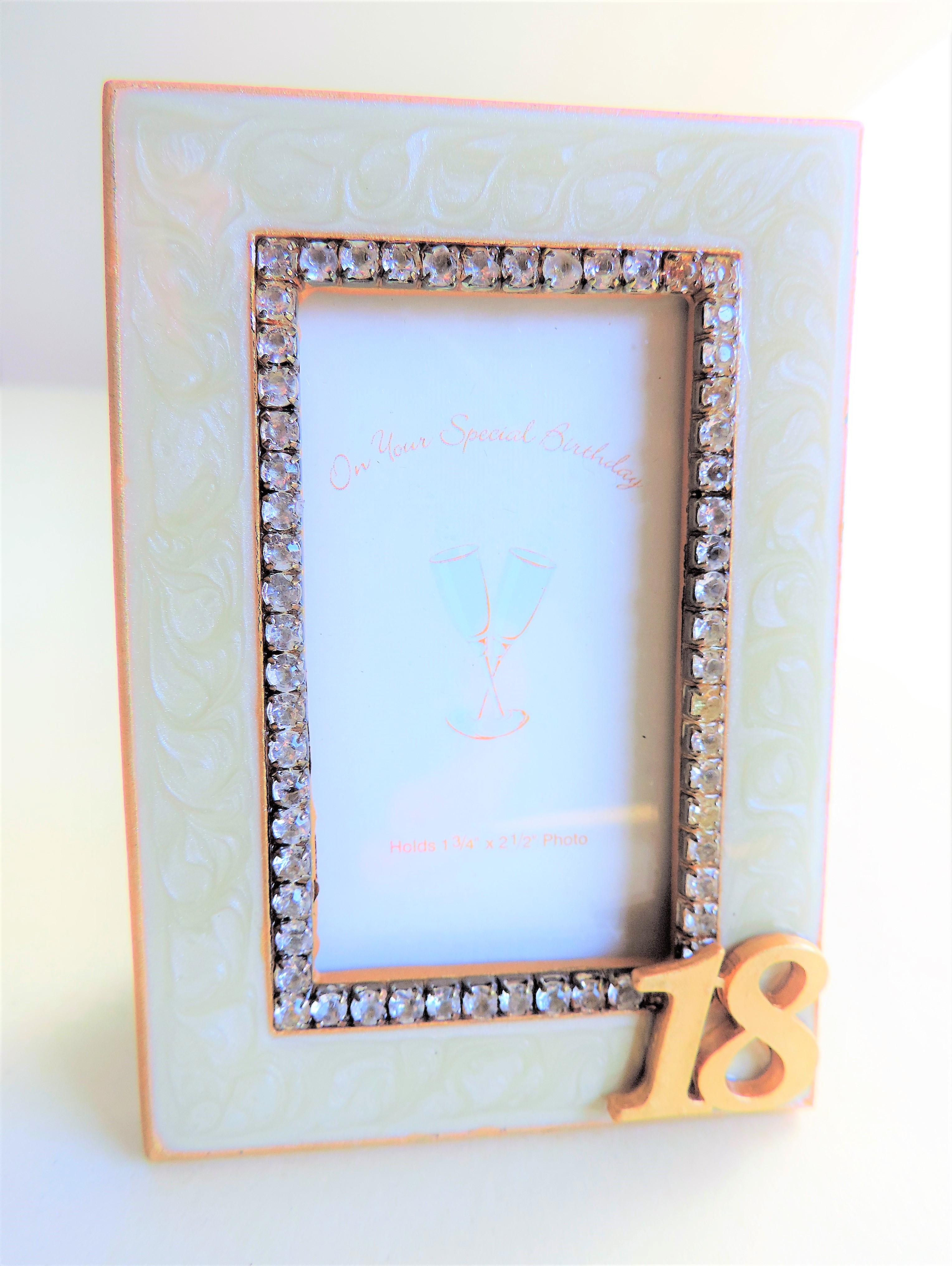 Cream Enamel & Diamante Photo Frame New Boxed