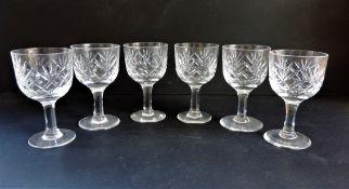 Vintage Cut Crystal Wine Glasses Set 6