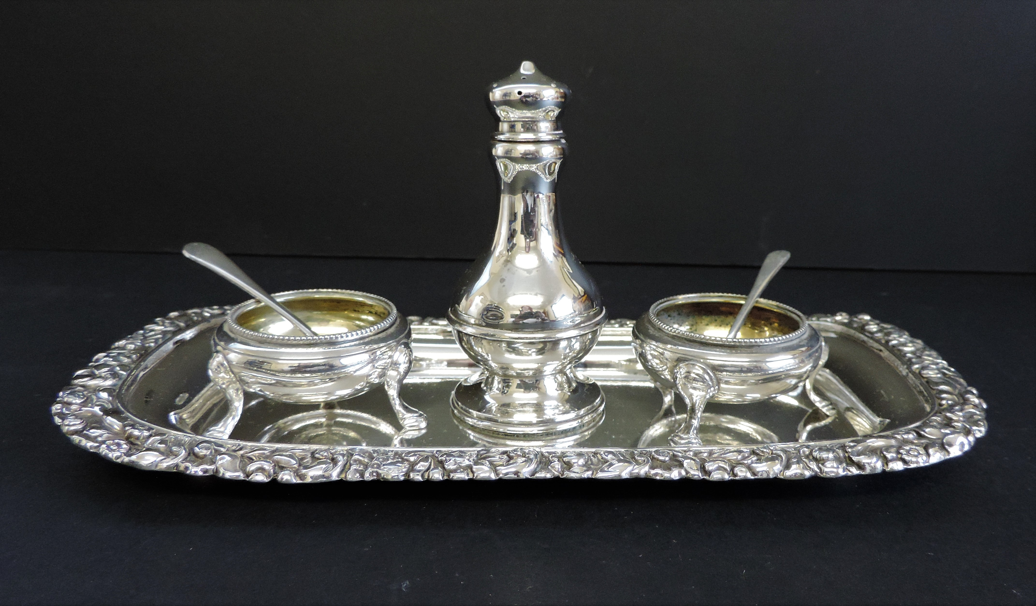 Antique Silver Plated 6 Piece Condiment Set - Image 2 of 5