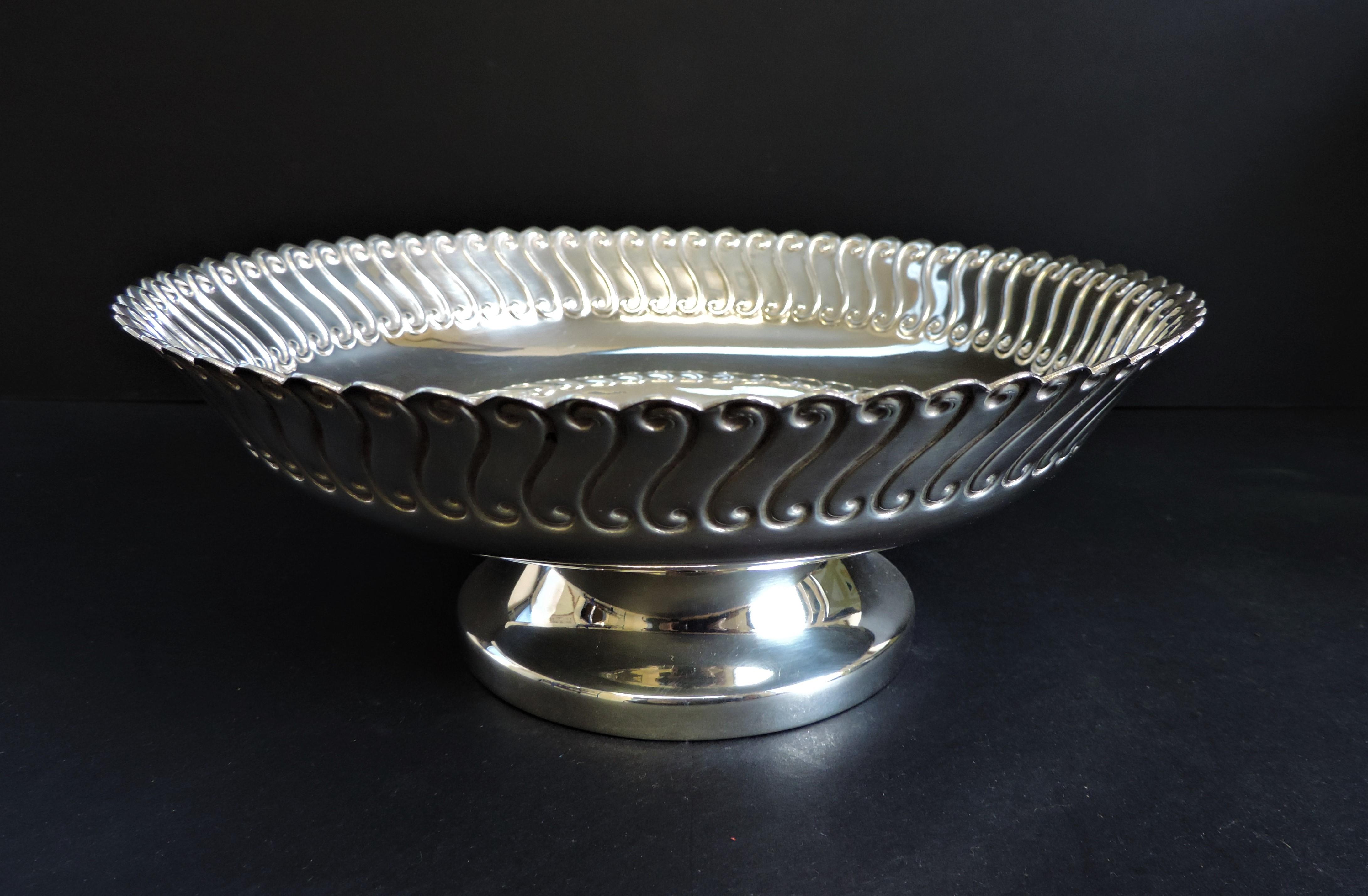 Antique Art Nouveau Silver Plated Pedestal Bowl