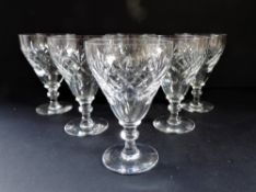 Vintage Crystal Wine Glasses Matching Set of 6
