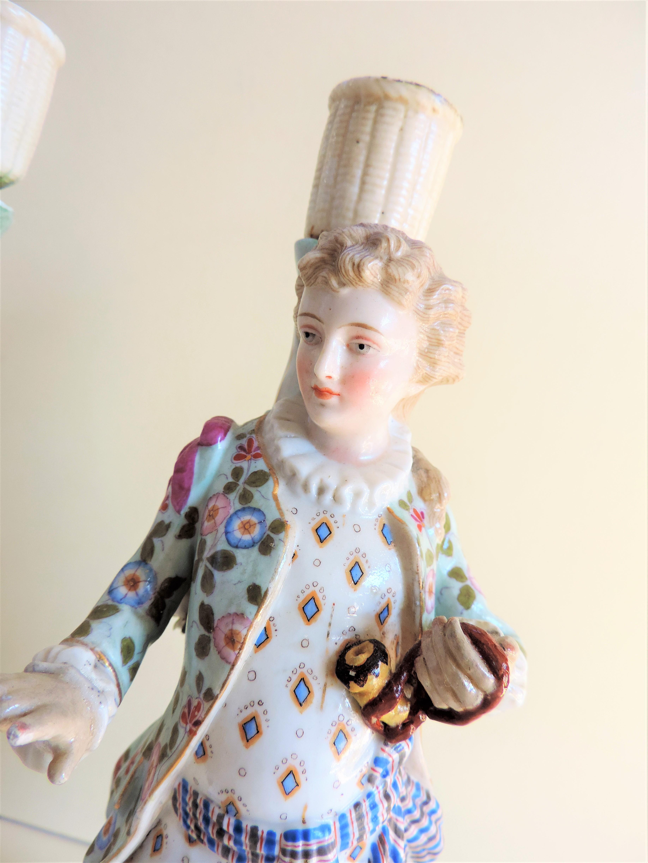 Pair Antique Sitzendorf Porcelain Candlesticks circa 1810 - Image 5 of 10