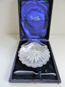 Silver Plated Shell Shaped Butter Dish & Knife in Presentation Case
