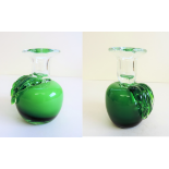 Pair of Vintage Art Glass Green Apple Candle Holders