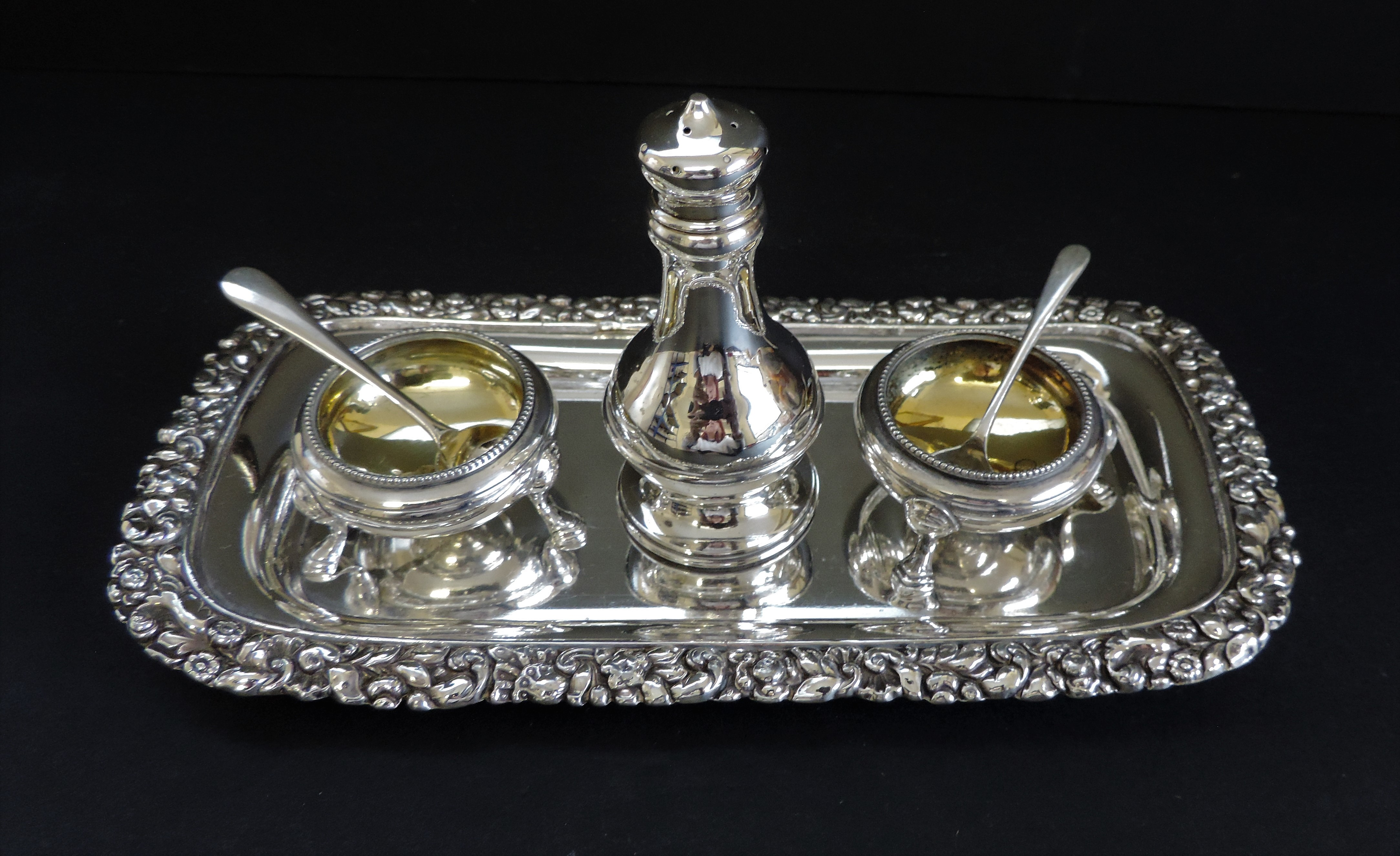 Antique Silver Plated 6 Piece Condiment Set - Image 3 of 5