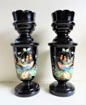 Pair of Antique Victorian Hand Painted Black Glass Vases