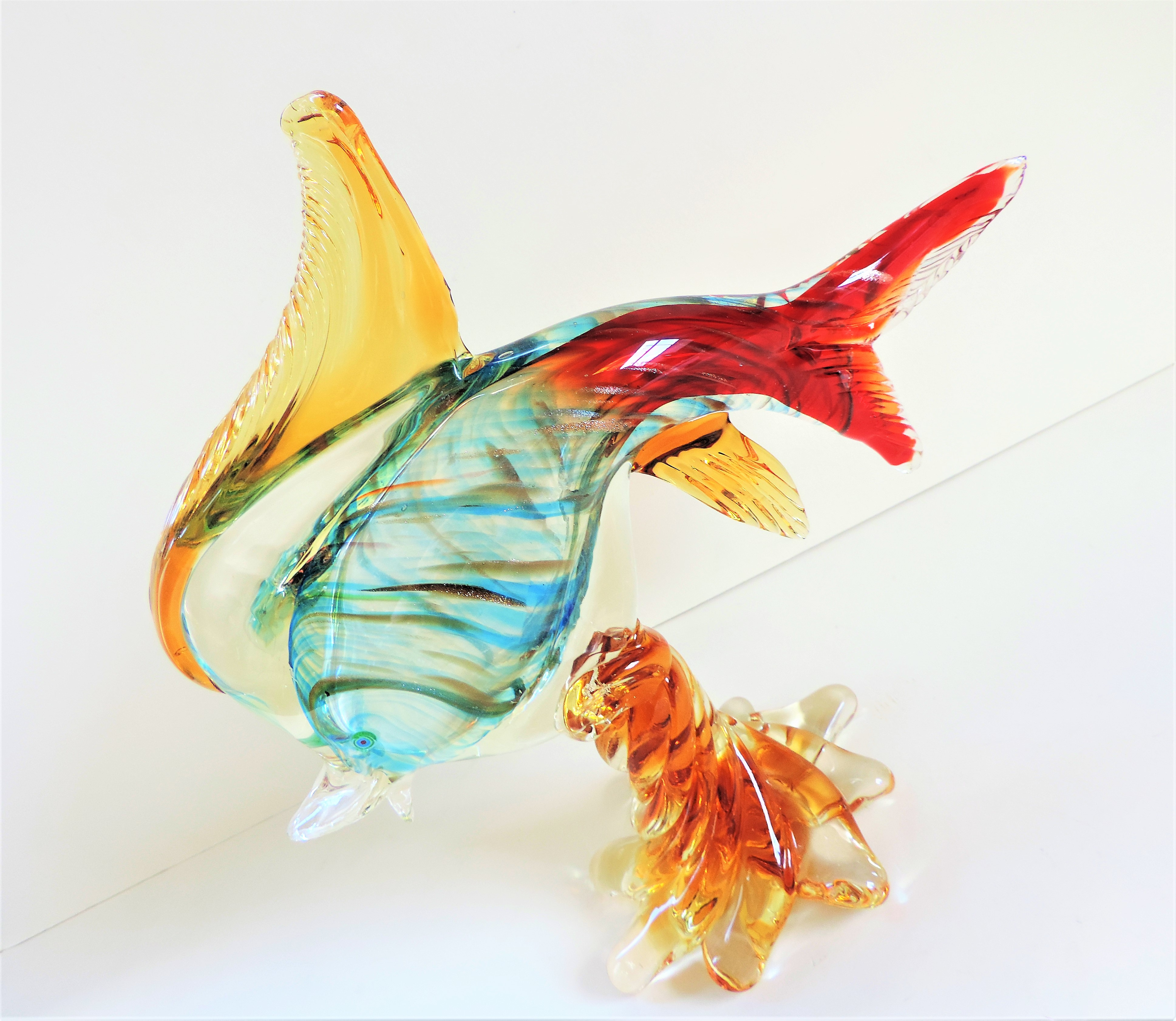 Vintage Murano Glass Fish Sculpture 28cm Tall - Image 4 of 7
