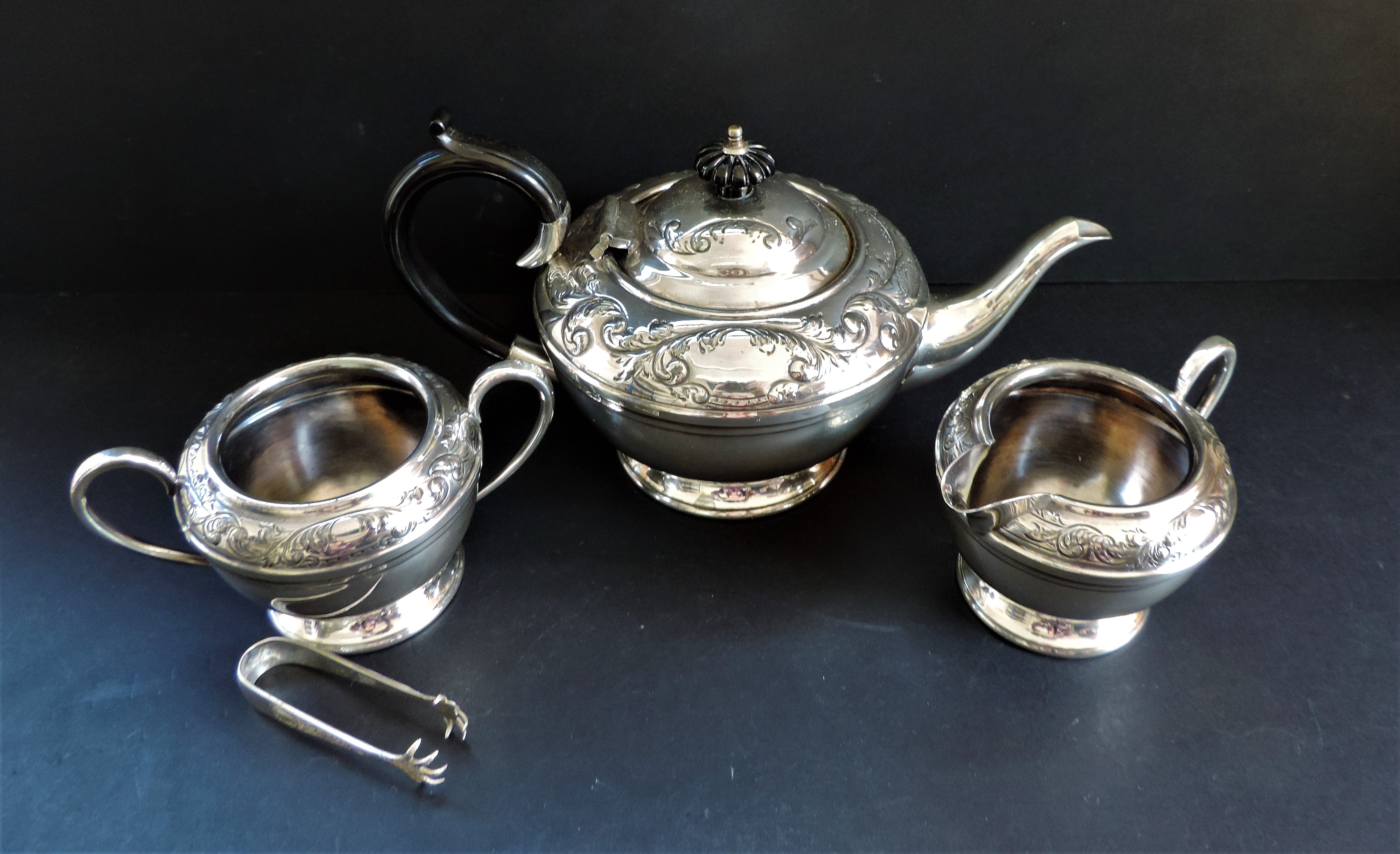 Antique Silver Plated Repousse Decorated Tea Set - Image 2 of 7
