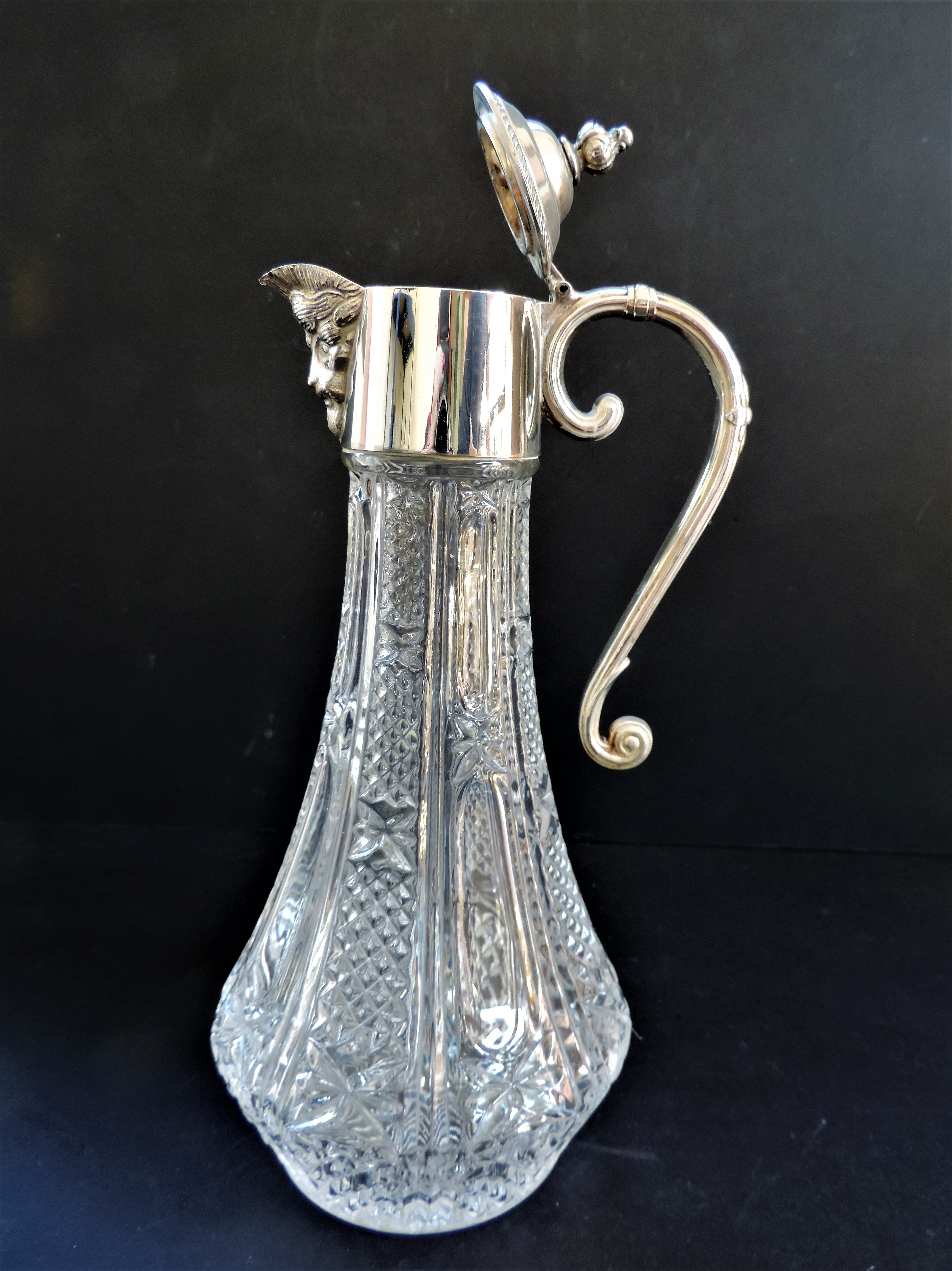Hand-Cut Crystal And Silver Plate Bacchus Claret Jug - Image 2 of 4