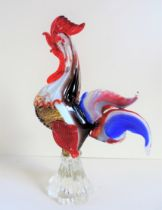 Large Vintage Murano Glass Rooster Sculpture 30cm Tall