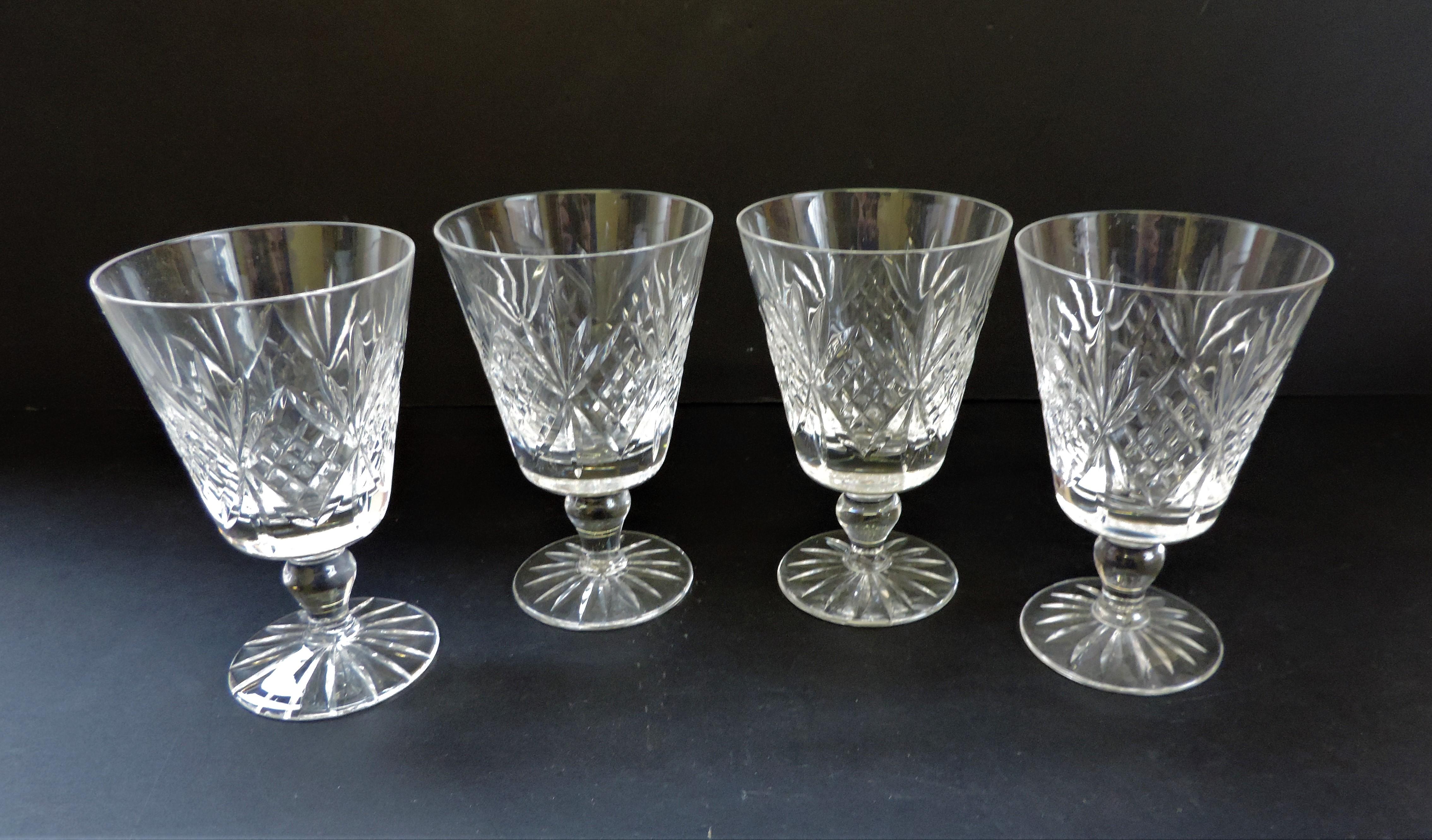 Set of 4 Vintage Crystal Wine Goblets 12cm tall - Image 2 of 4