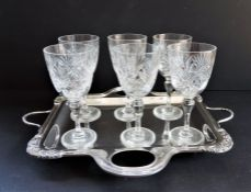 Crystal and Silver Plate Drinks Set