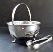 Mappin & Webb Silver Plated Sugar Bowl & Tongs