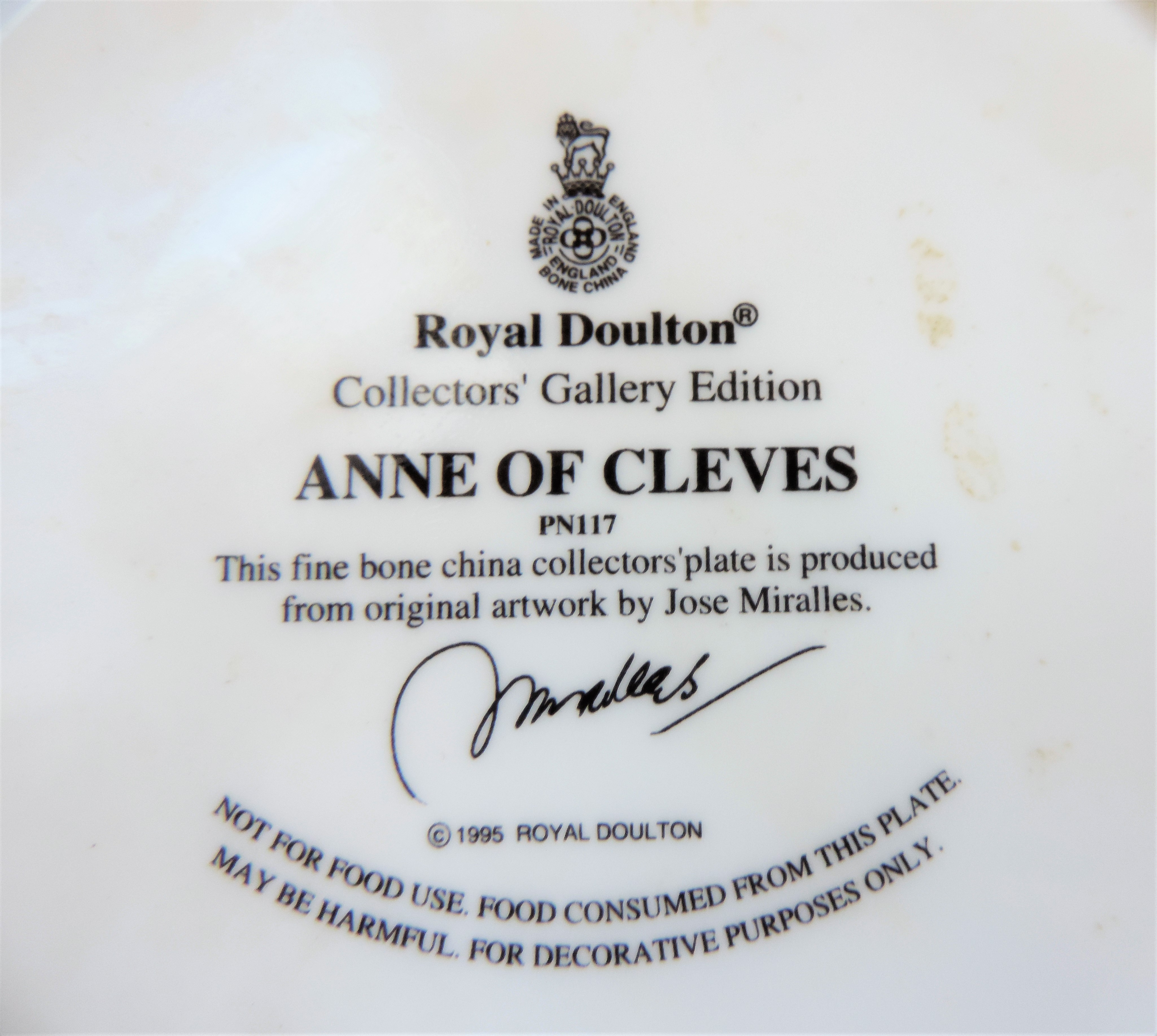 Royal Doulton Anne of Cleves Collectors Plate Limited Edition - Image 3 of 3