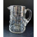 Antique Victorian Cut Glass Beer/Ale Jug/Pitcher 16cm Tall