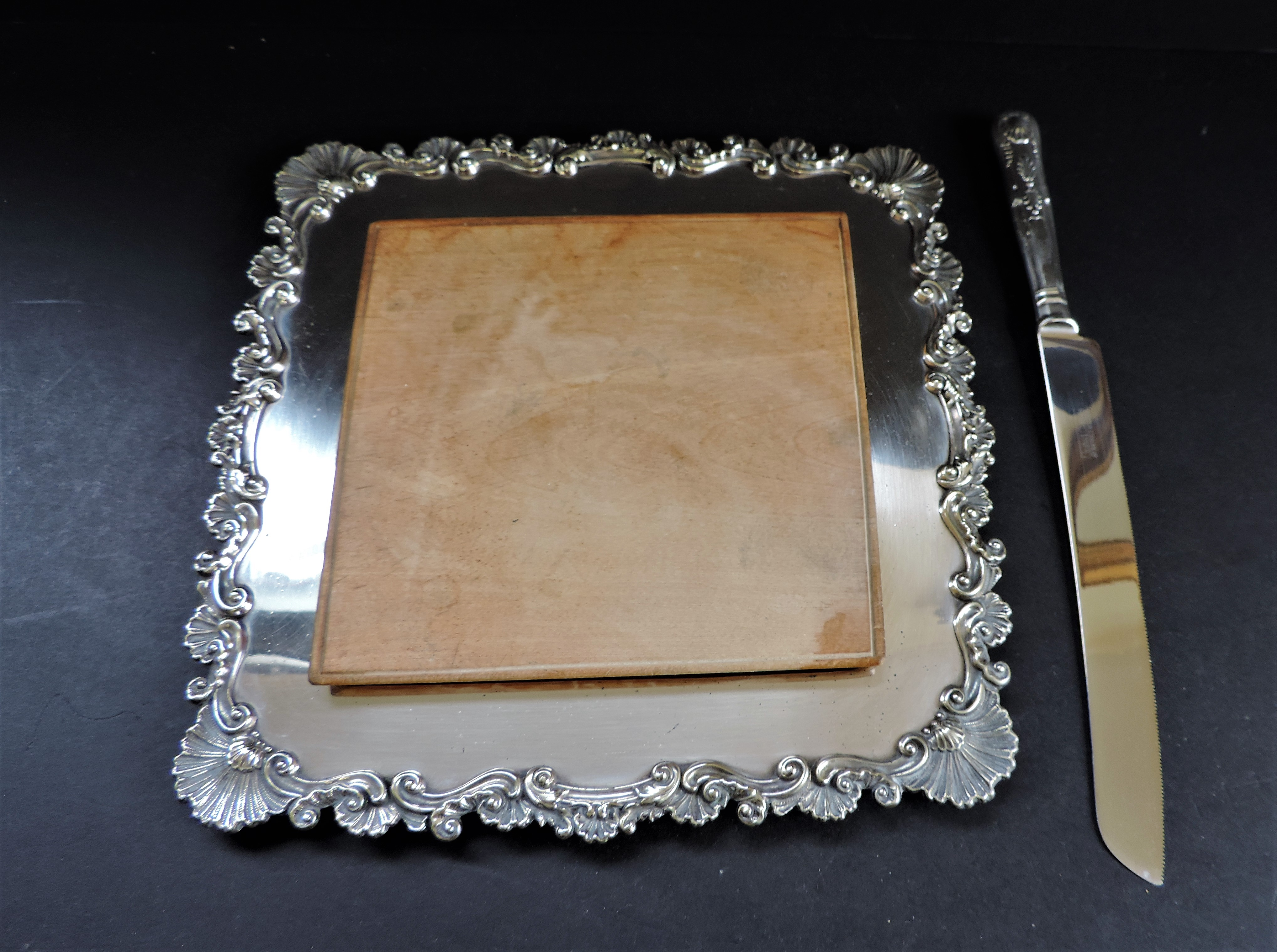 Antique Victorian Silver Plated Bread/Cheese Board Serving Set - Image 2 of 6