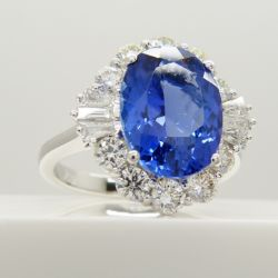 A certified loupe clean natural tanzanite and diamond ring in 18ct white gold