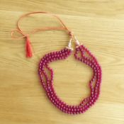 3-strand 605.00 carat (approx) earth-mined ruby bead necklace