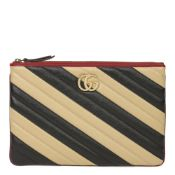 Gucci Black, Cream & Red Diagonal Quilted Aged Calfskin Leather Marmont Pouch
