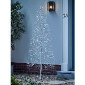 (R15B) Lighting. 2 Items. 1 X Floor Standing White LED Tree & 1 X Wicker Heart Lamp (May Have Undel