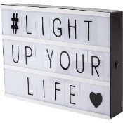 (R15C) Lighting. 6 Items. 1 X Cinema Light Box, 1 X Pleated Stick Lamp, 1 X Wooden Desk Lamp, 1 X M