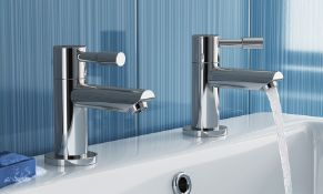 New & Boxed Pair of Gladstone Taps. Tb2013.Chrome Plated Solid Brass Mirror Finish Simple In...
