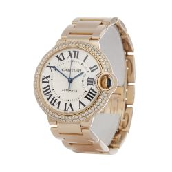 Luxury Watches I Free UK Delivery & 24 Months Warranty I Featuring a Cartier Ballon Bleu 36 WJBB0005/ 3003 Ladies Rose Gold Diamond Watch.