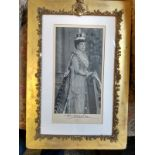 Royalty Gb Queen Alexandra 1902-1910, Signed Downey Photograph Antique Gold Frame Silver