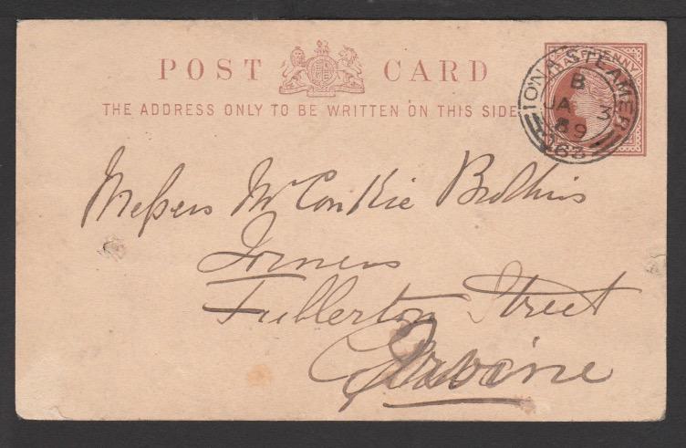 G.B. - Greenock & Ardrishaig Packet 1889 (Jan 3)