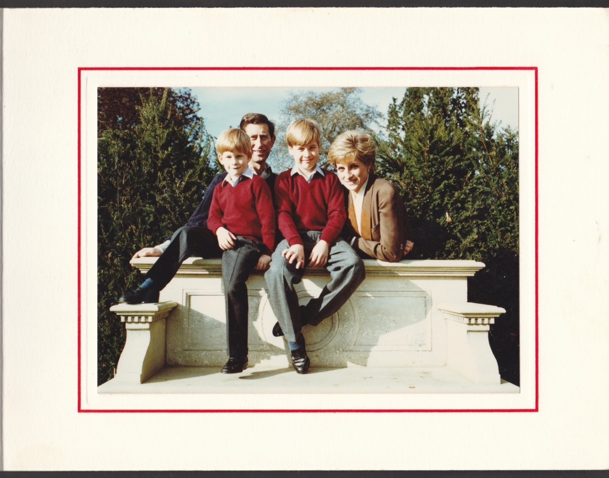 Royalty Signed Christmas Card Princess Diana with Prince Charles, William and Harry